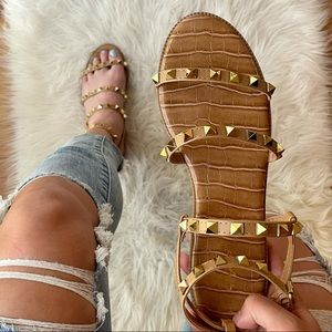 Tan Gold Spiked Gladiator Sandals